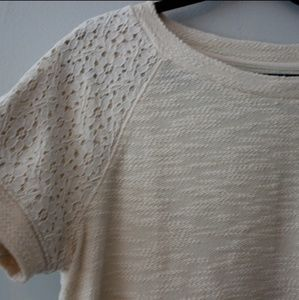 Ivory top with lace accents by Lou and Grey